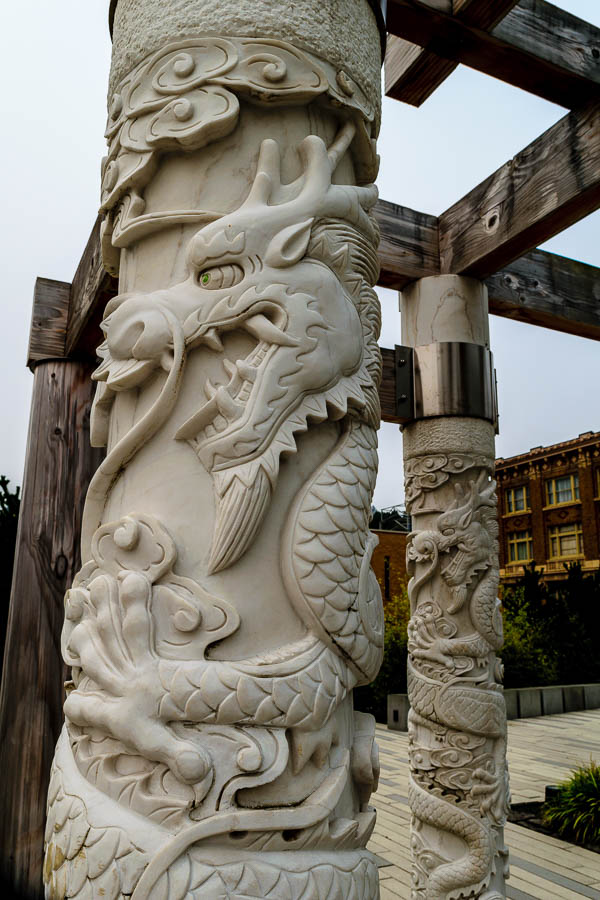 Traditional dragon columns of the central pavilion at the Garden of Surging Waves - Astoria, Oregon