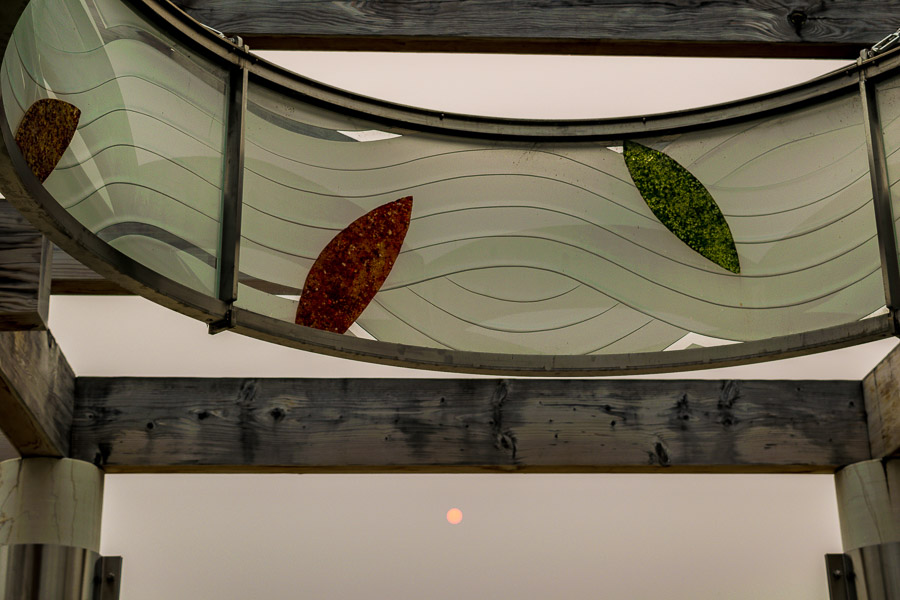 Circular glass artwork at the central pavilion at the Garden of Surging Waves - Astoria, Oregon