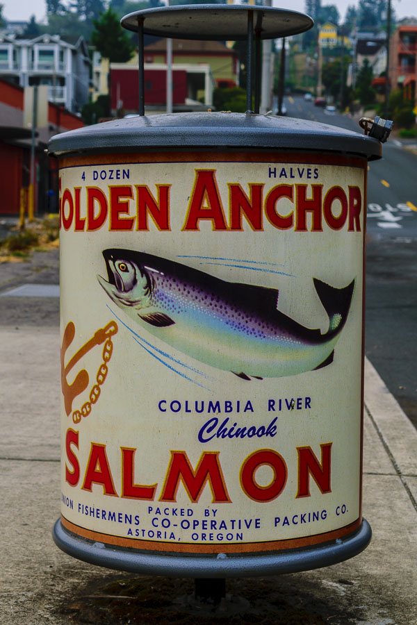 Salmon-themed trash can - Astoria, Oregon
