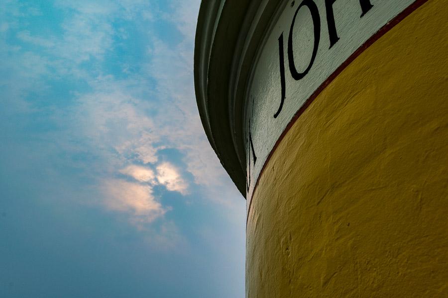 Partial closeup view of the top of the Astoria Column