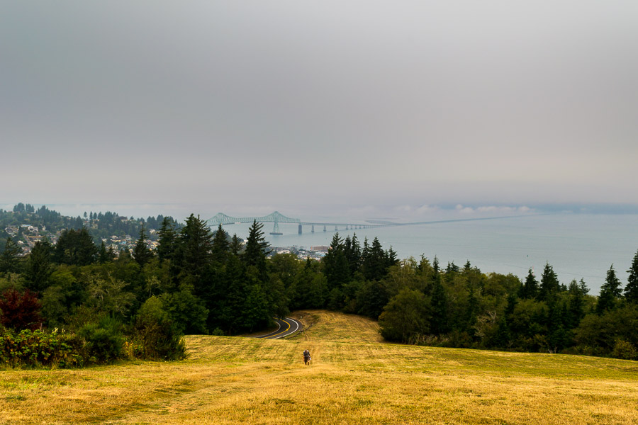 walking up the hill to the Astoria Column