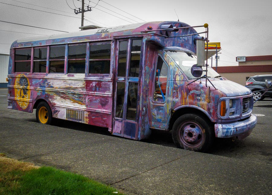 Fanciful bus outside the visitor's center