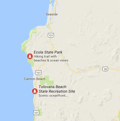 Map showing Ecola State Park