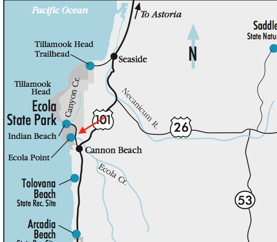 Map of Indian Beach and Ecoloa Point