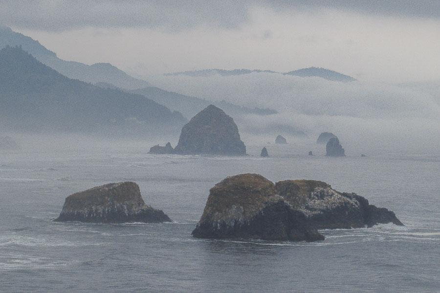 A closer view of the massive ocean rocks