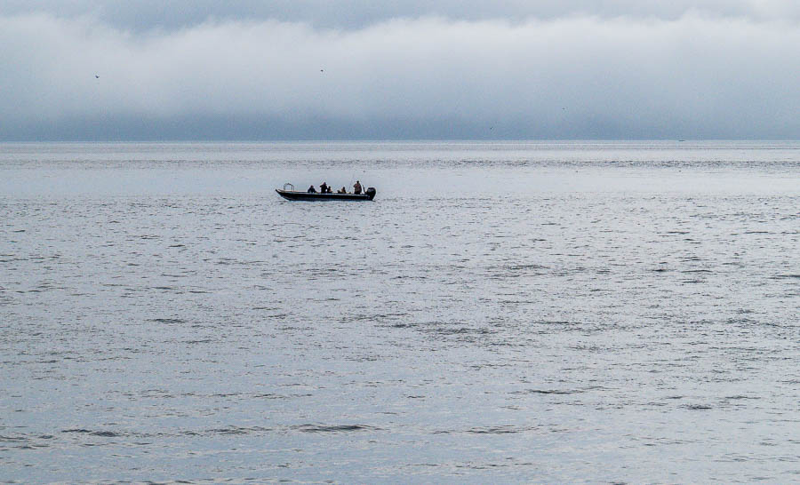 A boat with anglers heading home.