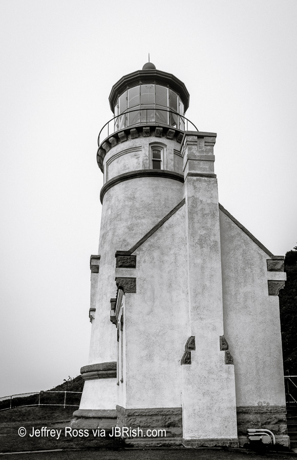 The landmark lighthouse rendered in black and white