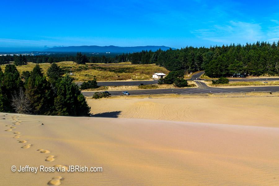 Rental car seems far away from atop the dunes