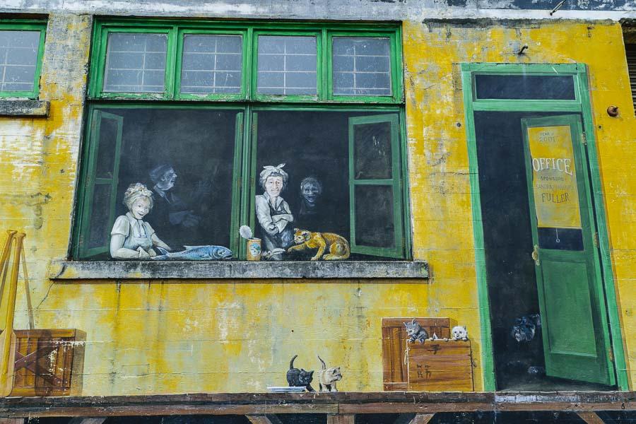 Astoria riverside building mural as art