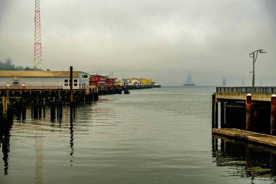 The fog created an eeerie waterfront mood