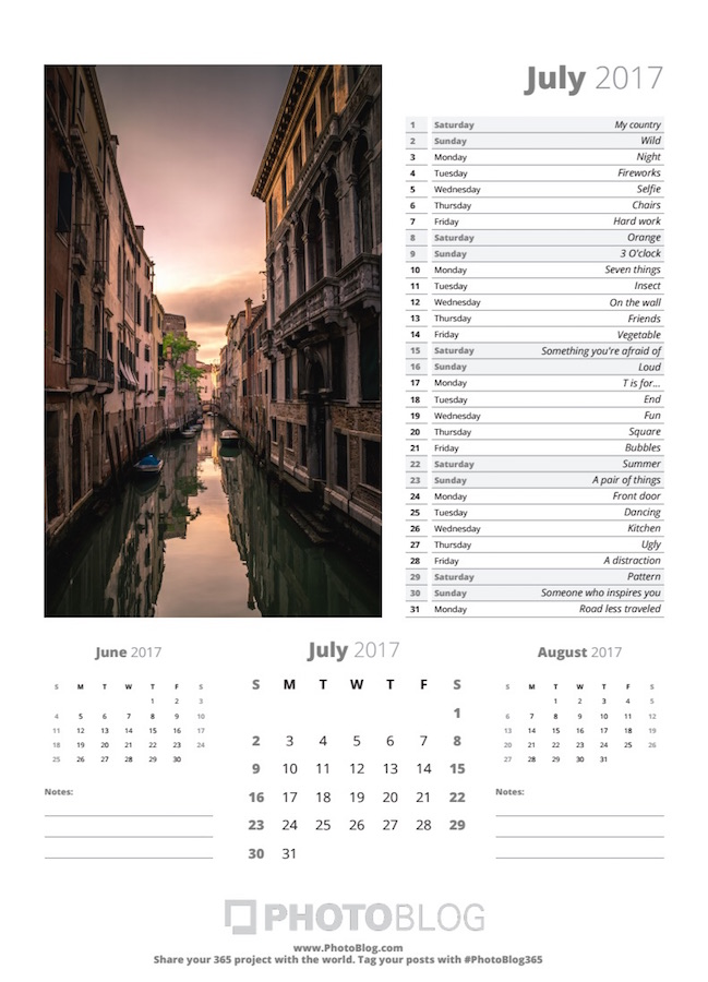 PhotoBlog Sample Calendar Page