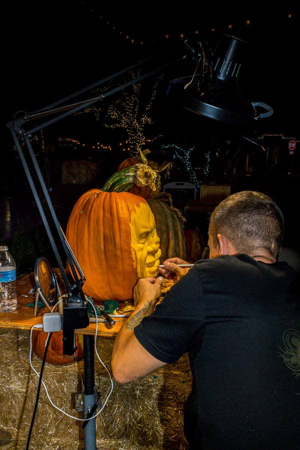 Ray Villafane wielding his pumpkin carving wizardry