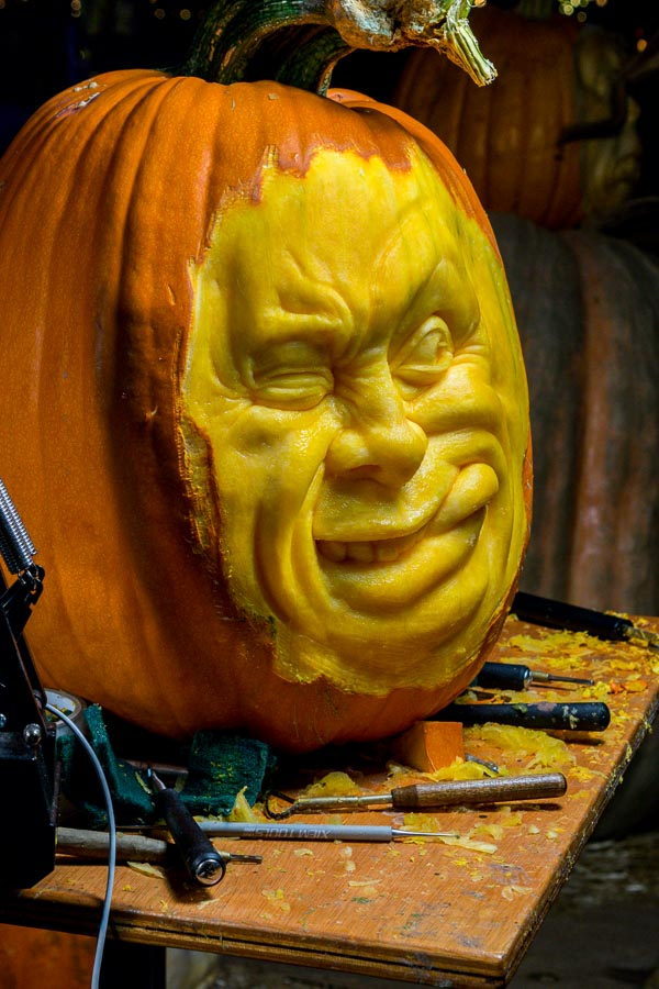 Carved pumpkin closeup