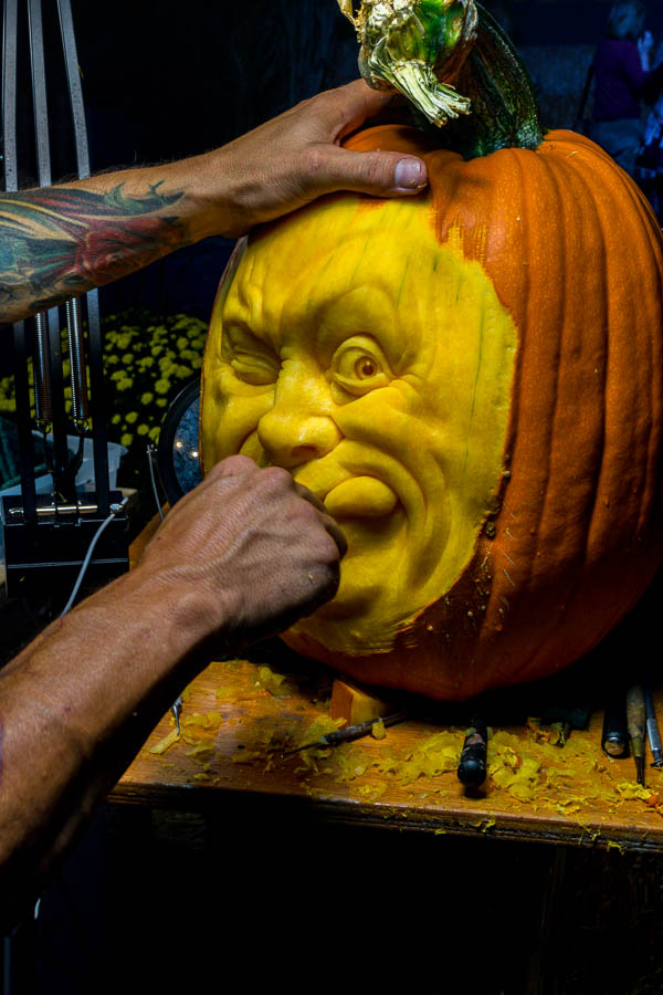 Ray Villafane continued to work on this carving of the day