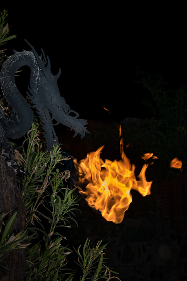 Decorative dragon breathing fire