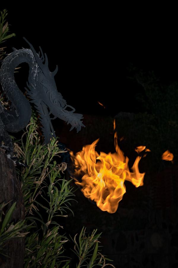 Decorative dragon breathing fire
