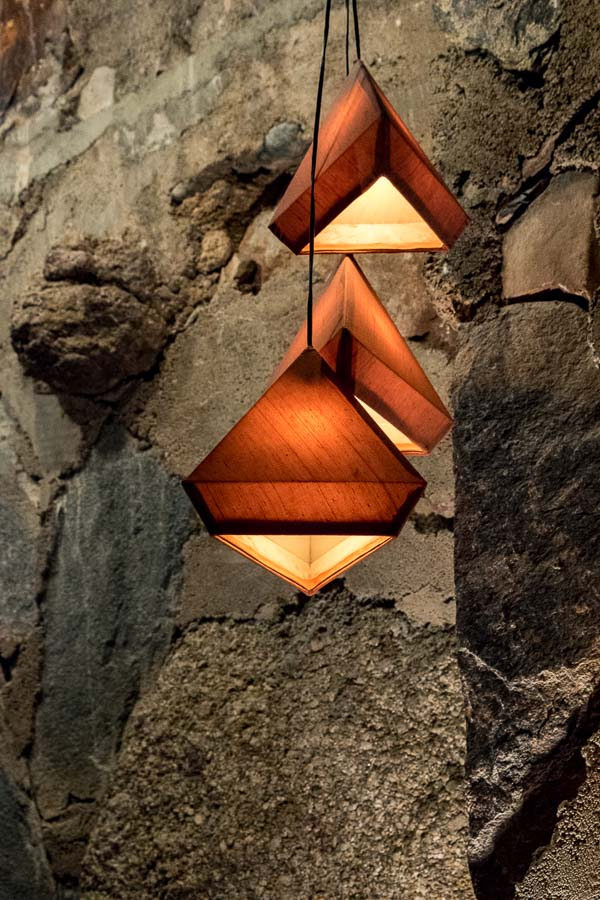 Pyramidal light fixtures closer view