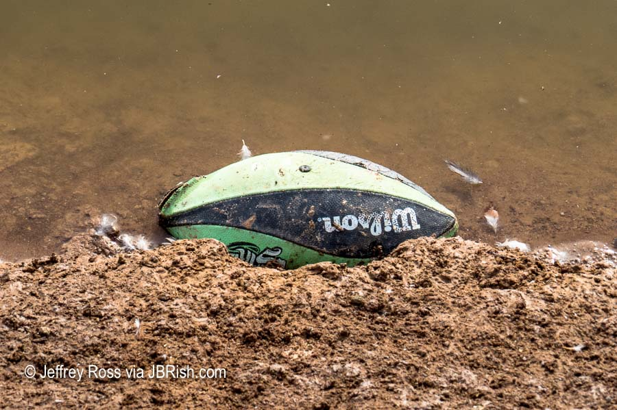 Floating lost football left behind at the ponds