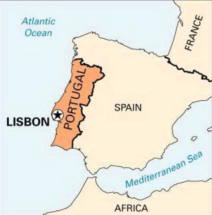 Map of Portugal with Lisbon noted