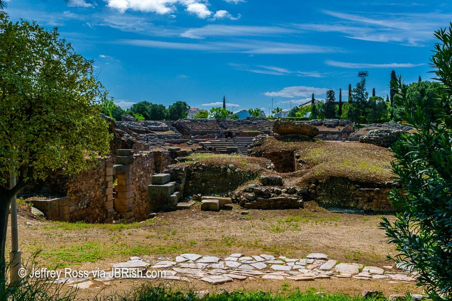 A closer view of the Ancient Roman Ruins of Merida, Spain