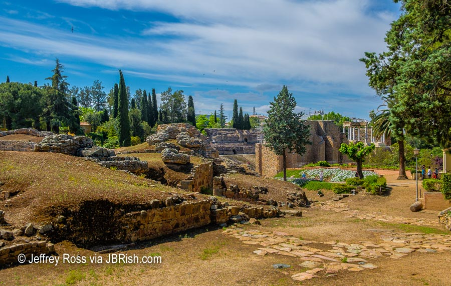 Distant view of the Ancient Roman Ruins of Merida, Spain