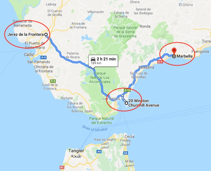 Map of trip from Jarez to Gibralter to Marbella