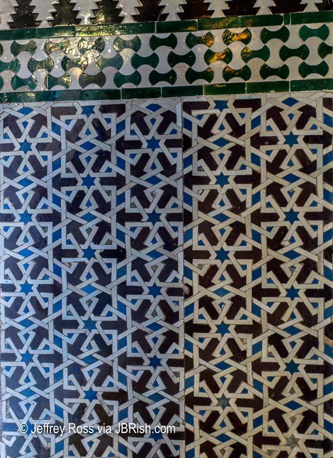 Tile work pattern with blues, green and brown
