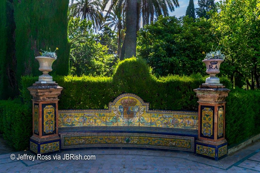 Garden tile bench