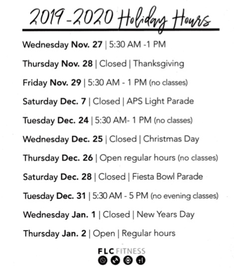 Family Life Center 2019-2020 Holiday Hours
