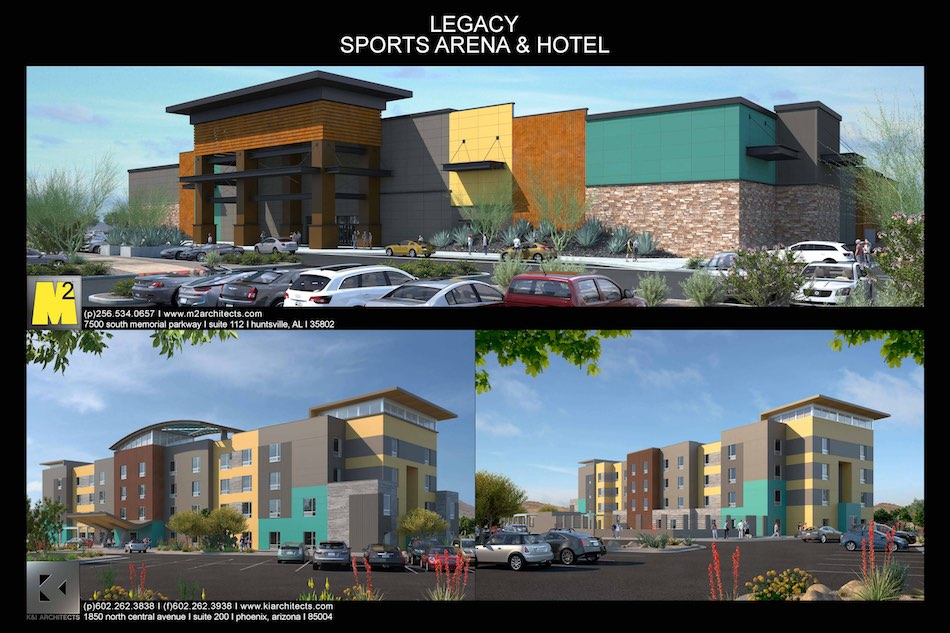 Drawing of the Legacy Hotel and Sports Arena