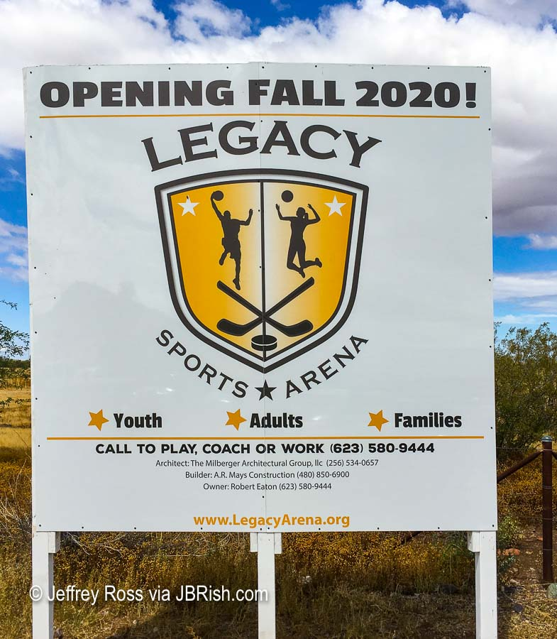 Legacy Sports Arena Opening Sign