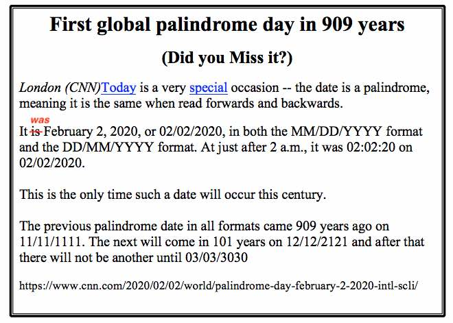First global palindrome day in 909 years