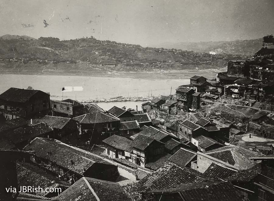 A view of the Yangtze River and Chungking, China circa 1944
